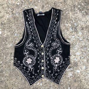 Vintage black embroidered button front vest